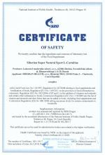 Certificate of safety<br>L-Carnitine Siberian Super Natural Sport. L-Carnitine, 120 capsules